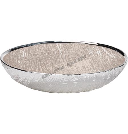 """Блюдо стеклянное """"INFINITY"""" (цвет песочный) d18см 1751590"""
