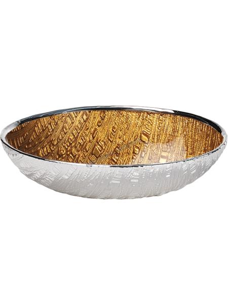 """Блюдо стеклянное """"INFINITY"""" (цвет золотой) d18см"""