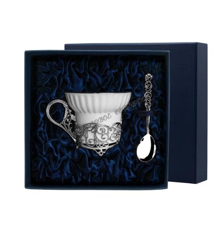 """Императорский чайная чашка """"Кружевные узоры"""" с ложкой серебро"""