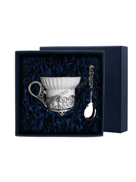 """Чайная чашка """"Кружевные узоры"""" с ложкой серебро"""