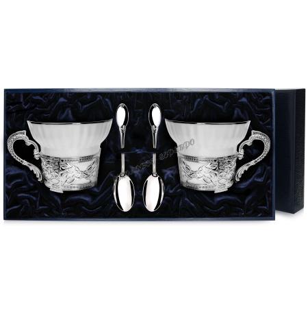 """Набор серебряная чайная пара  """"Под логотип"""" с ложками серебро"""