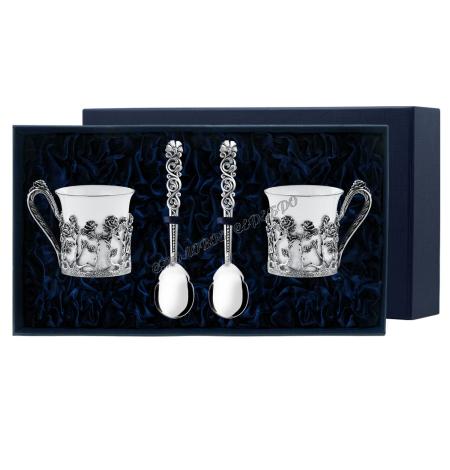 Набор кофейная пара «Роза» с ложкой «Подарочной» серебро чернение