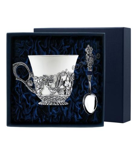 """Серебряная чайная чашка """"Натюрморт"""" с ложкой"""