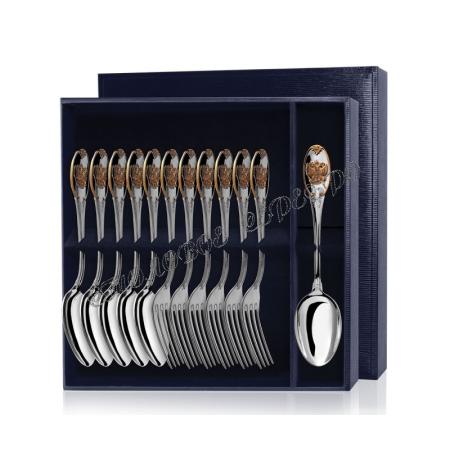 Серебряный столовый набор «Единство» с позолотой 12 предметов (ложки и вилки)