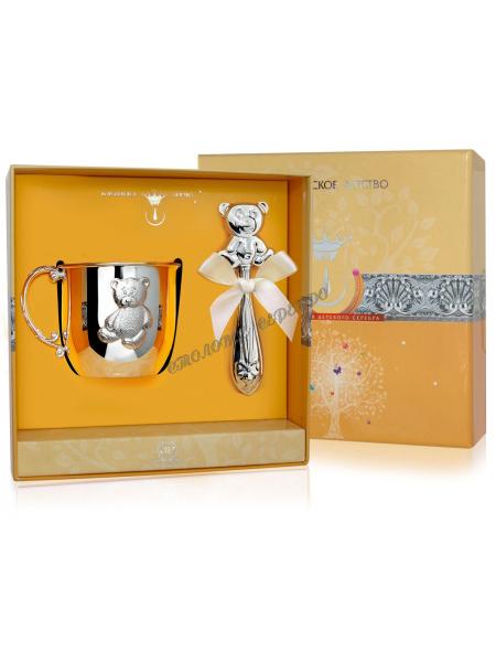 Набор детского серебра с кружкой «Мишутка» и погремушкой