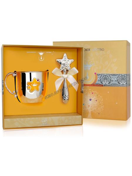 Набор детского серебра с кружкой «Звезда» с красной эмалью и погремушкой