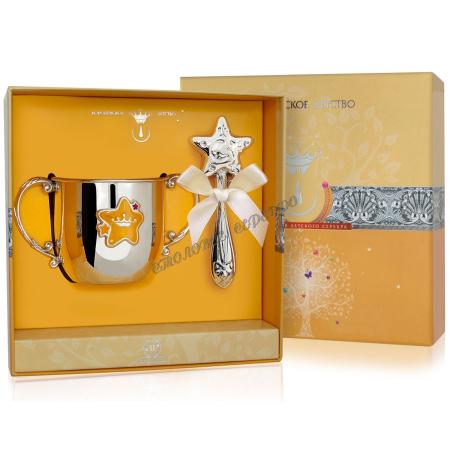 Набор детского серебра с поильником «Звезда» с красной эмалью и погремушкой
