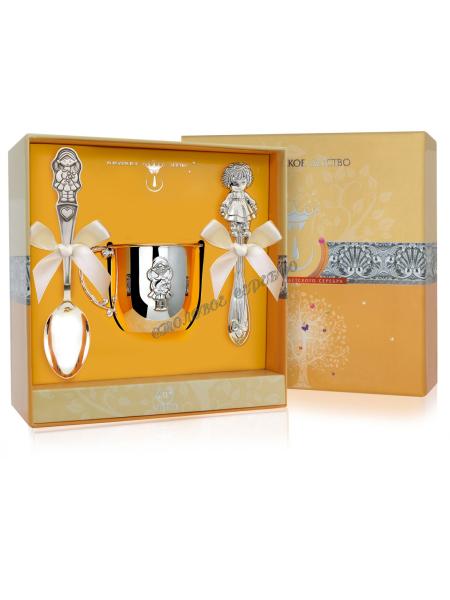 Набор детского серебра «Девочка» с кружкой и погремушкой