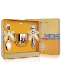 Набор детского серебра «Мишка» с поильником и погремушкой