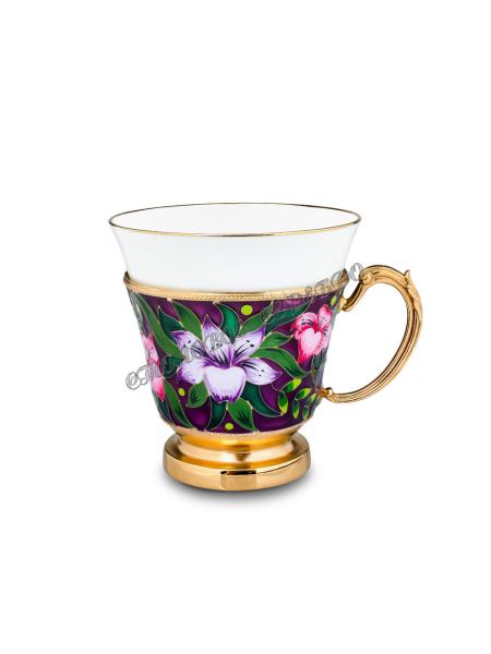 Чашка с эмалью «Лилии» 42618