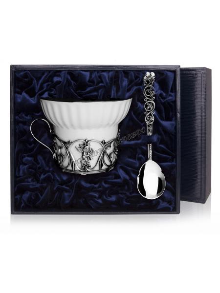 """Чайная чашка """"Ангел"""" с ложкой серебро"""
