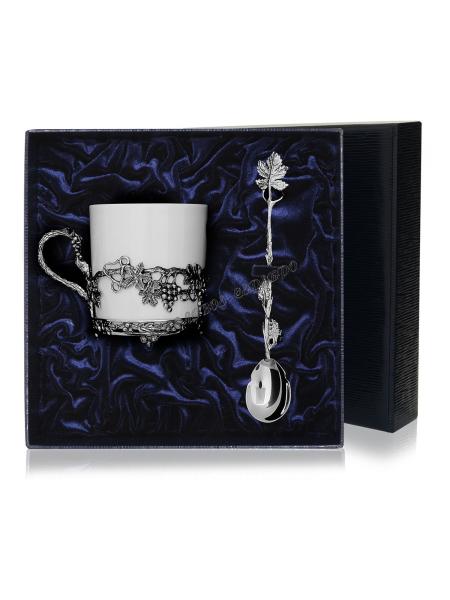 """Чайная чашка """"Виноград"""" с ложкой серебро"""