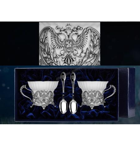 """Императорский набор серебряная чайная пара """"Герб"""" с ложкой  серебро"""