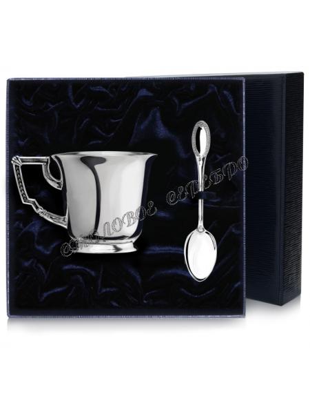 """Серебряная чайная чашка """"Император"""" с ложкой"""