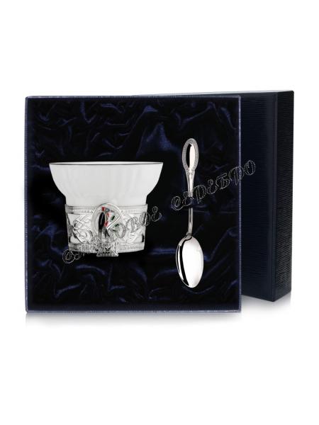"""Серебряная чайная чашка """"Дятел"""" с ложкой"""