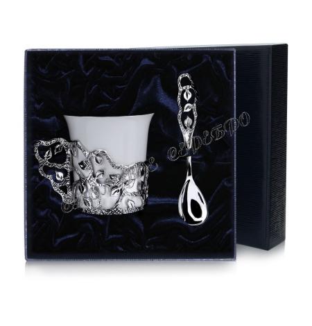 """Кофейная чашка """"Листопад"""" с ложкой серебро"""