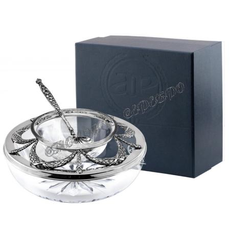 Икорница «Триумфальная» с ложкой для икры из серебра