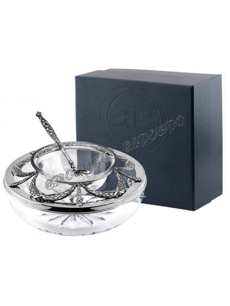 Серебряная икорница «Триумфальная» с ложкой для икры
