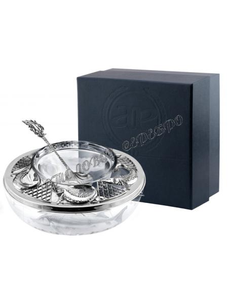 Серебряная икорница «Осётр» с ложкой для икры