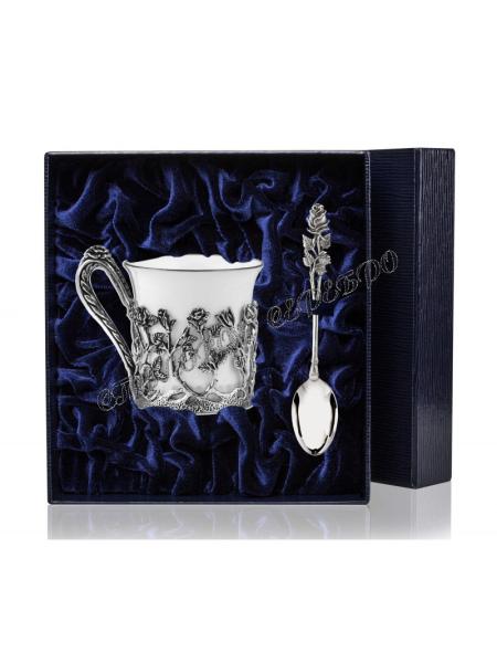 """Кофейная чашка """"Роза"""" с ложкой серебро чернение"""