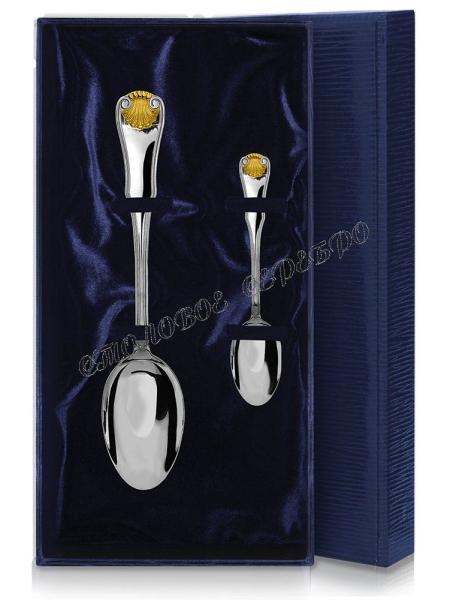 Набор из 2 столовых серебряных приборов «Визит» позолота (ч.ложка+ст.ложка)