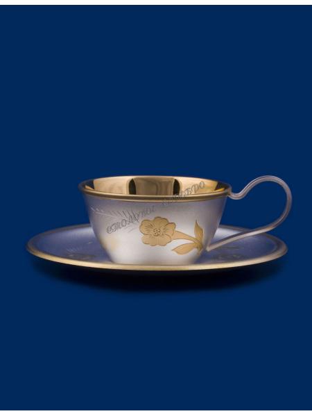 Чашка с блюдцем №6 мельхиор