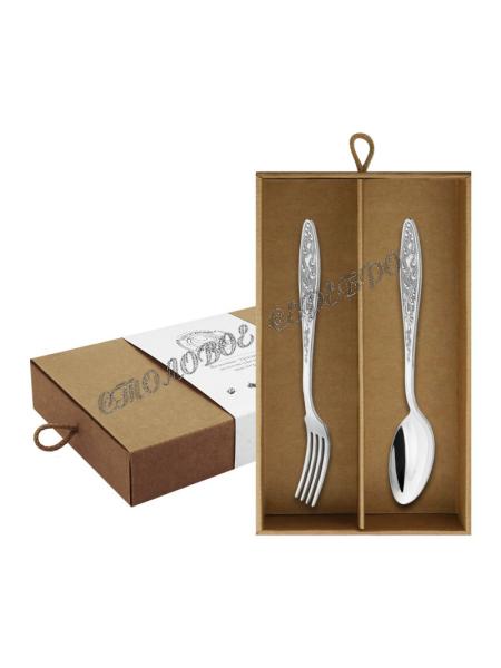 """Десертный набор """"Морозко"""" из мельхиора, покрытие серебром на 2 предмета"""