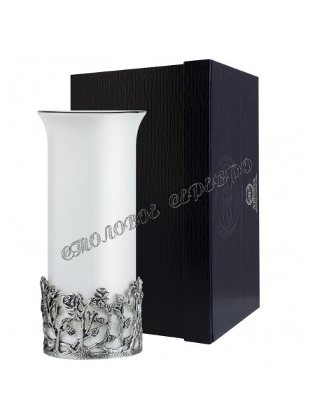 """Серебряная ваза """"Роза"""" с чернением"""