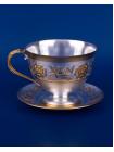 Серебряная чашка с блюдцем № 3 позолота