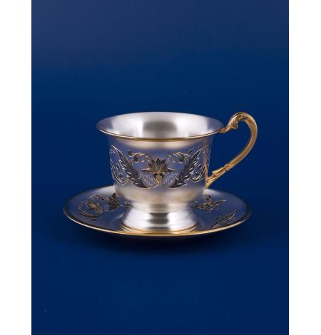 Серебряная чайная чашка с блюдцем № 16 позолота