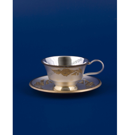 """Серебряная чашка с блюдцем """"Сюрприз"""" позолота"""