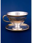 Серебряная чашка с блюдцем № 1 позолота