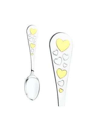 """Детский набор с погремушкой из серебра """"Сердце"""""""