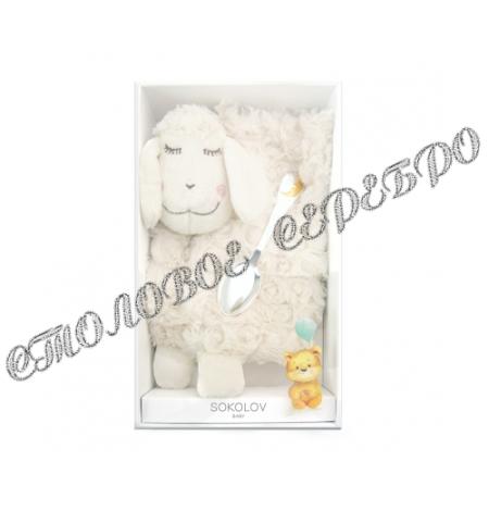 Детский набор с ложкой и мягкой игрушкой от SOKOLOV 24094