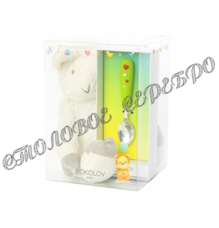 Детский набор с ложкой и мягкой игрушкой от SOKOLOV 24098