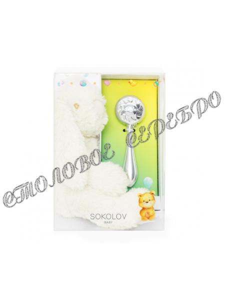 """Детский набор с погремушкой """"Солнышко"""" и мягкой игрушкой от SOKOLOV 24099"""
