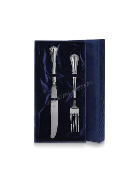 Набор из 2 столовых серебряных приборов «Фаворит» (вилка+нож)