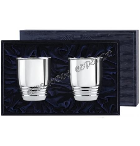 "Набор стаканы ""Рифленые"" серебро 2 предмета"