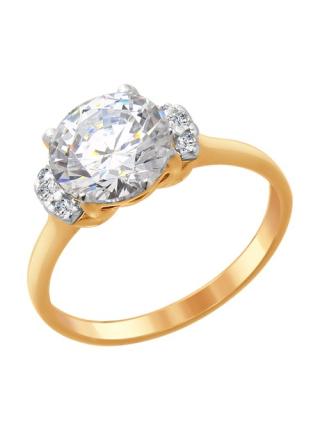 Комплект (серьги, кольцо и подвеска) из золоченого серебра со Swarovski Zirconia 8