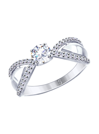 Комплект (серьги, кольцо и подвеска) из серебра со Swarovski Zirconia 3