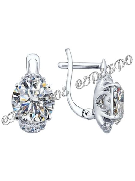 Комплект (серьги, кольцо и подвеска) из серебра с фианитами 6