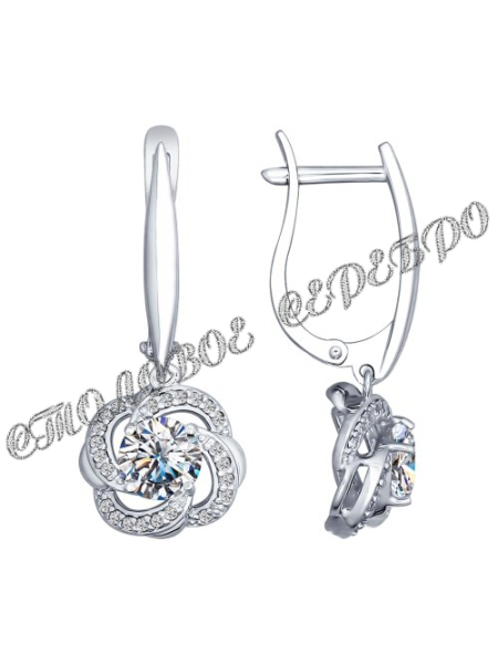 Комплект (серьги, подвеска) из серебра со Swarovski Zirconia 9