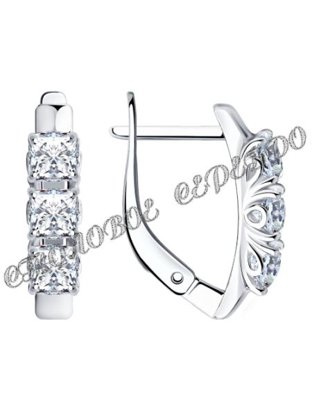 Комплект (серьги, кольцо) из серебра со Swarovski Zirconia 5