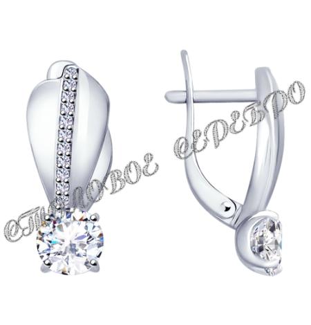 Комплект (серьги, кольцо) из серебра со Swarovski Zirconia 1