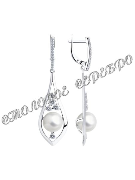 Серьги из серебра с жемчугом и фианитами 5