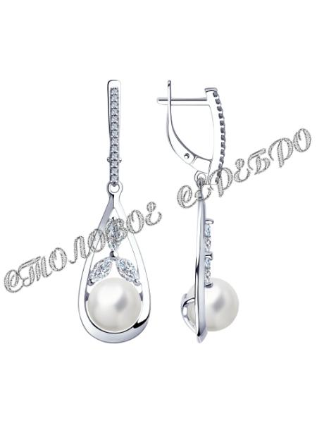 Серьги из серебра с жемчугом и фианитами 4