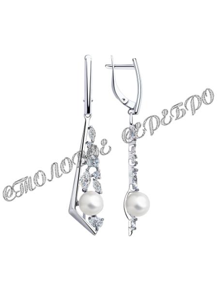 Серьги из серебра с жемчугом и фианитами 2